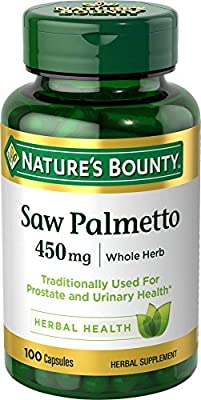 Nature's Bounty Saw Palmetto Pills and Herbal Health Supplement, Supports Urinary Health, 450mg, 100 Capsules