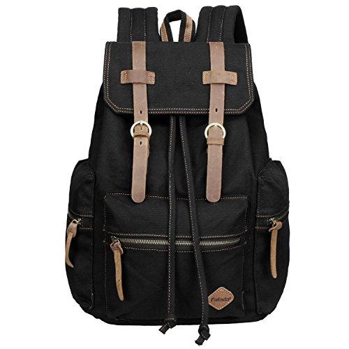 Fafada Rucksack Canvas Vintage Damen Mädchen Leder Retro Laptop backpack Schulrucksack Daypack für Campus Studenten und Outdoor Reisen Wandern Schwarz