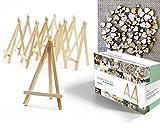 Easelia NATURA - Ensemble de 220 pièces, comprenant 20 Mini Chevalets en bois naturel de 16.5cm + Un mélange de 200 Mini C'urs en bois pour embellissements, marquer les places aux mariages, orner les menus, décorations de papier et projets d'artisanat.