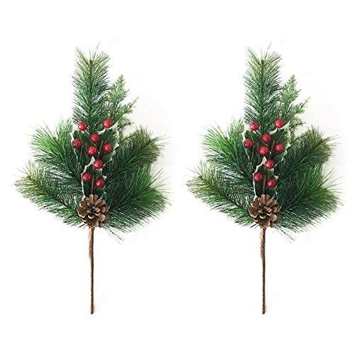 healifty 2Berry Picks Weihnachten Tannenzapfen und rot Berry Floral Bilder-künstliche Urlaub Blumen