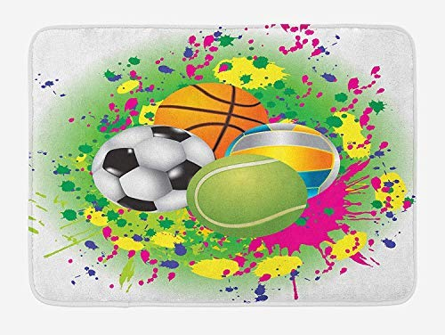 PdGAmats Sports Bath Mat, Collection of Sports Balls on Watercolors Splash Vibrant Art Graphic Kids Playroom 23.6 W X 15.7W Inches