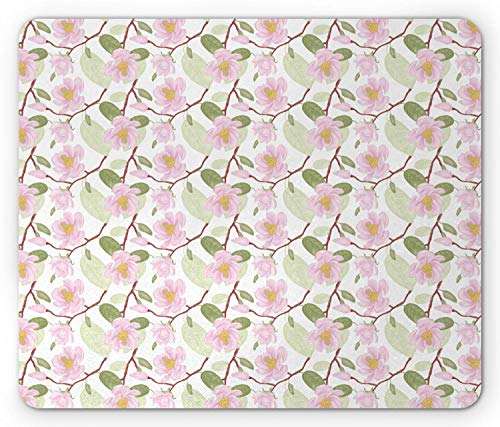 SHAQ Victorian Mouse Pad, Magnolia Tree Branch with Buds and Blossoms Botanical Feminine Bridal Design, Standard Size Rectangle Non-Slip Rubber Mousepad, Multicolor -