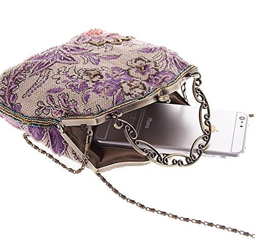 Urbancoco Damen klassisches luxus perlen Clutche Handtasche Abendtasche lila modell B