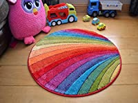 Multicoloured Rainbow Pattern Design Rug Good Quality Thick Modern Carved Soft Pile Large Small Mat available in 8 sizes by SuperRugStore