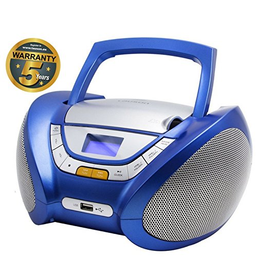 Lauson CP446 CD-Radio mit CD MP3 USB Player Tragbares Kinder Radio Boombox tragbarer CD Player, Blau (Cd-player Tragbare Stereoanlage)