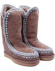 Mou Ladies' esquimai intracomunitarios Wedge Tall Boots - Dark Stone