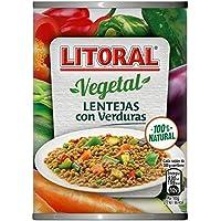 LITORAL Vegetal Lentejas con Verduras - Plato Preparado Sin Gluten - Paquete de 10 x 430 g - Total: 4.3 kg