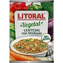 LITORAL Vegetal Lentejas con Verduras - Plato Preparado Sin Gluten - Paquete de 10x430g - Total