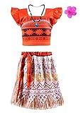 Jimilaka Fille Robe de Princesse Vaïana Deux Pièces Costume de Carton déguisement Cosplay Pour Noël Dress Up (4 ans)