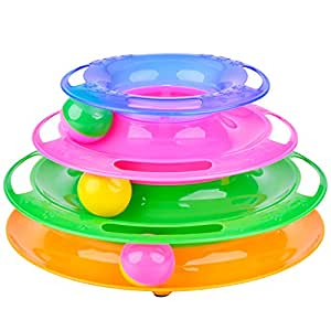 Cat Toys, Legendog 3-Level Layer Cat Kitten Tower Roller Ball of Tracks | Cat Toy Ball | Cat nteractive Toys | Cat Exercise Ball | Lightweight Intelligence Toy for Indoor Cats and Kittens Muliticolor