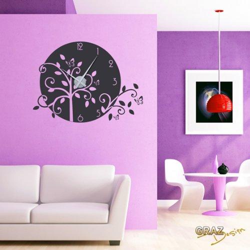 Graz Design 750084_57_071 Wandtattoo Wandaufkleber Retro Retroblumen für Ihr Wohnzimmer, 99 x 50 cm, schwarz