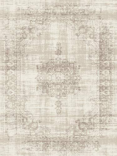 LIFA LIVING Vintage Teppich   im schönen Vintage Muster   für Wohnzimmer und Schlafzimmer   Farb und Größen Variationen   (Creme, 160 x 230 cm)