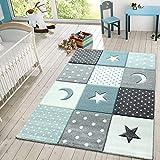 Kinder Teppich Spielteppich Karos Punkte Sterne Mond Pastell Türkis Weiß Grau, Größe:Ø 120 cm Rund