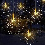 LED A Forma di Stringa di Fata A Forma di Fuochi D'artificio A Batteria 8 modalità Lampeggianti Luci Ecologiche per Interni Feste All'aperto Decorazione, Bianco Caldo