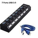 MMOBIEL Superspeed USB Hub 3.0 avec 7 Ports Ultralight Multiprise avec indicateur LED et interrupteurs individuels pour economiser l'énergie Hot Plugin Plug & Play pour PC Laptop Notebook Windows MAC
