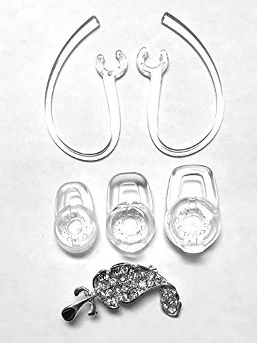 BSI SET Clear 3 S M L Eargels and 2 Earhooks with Metal Part Inside for Plantronics Discovery 925 975 Modus HM1000 HM1100 HM1700 HM3500 HM3700 Savor M1100 Marque MX100 M100 M100i M155 M25 Bluetooth Headset Gels Buds Earloop Clip Replacement Parts + Nice Crystals Feather Brooch  available at amazon for Rs.1699