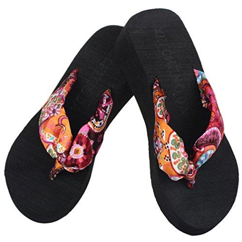mer Outdoor Strand Schuhe Hausschuhe Flip Flops Sandalen Mädchen Schuhe Flip Flops Blume Strandschuhe (Schwarz, 38) (Römisch Make Up)