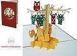 LIN 17544 - POP- UP 3D Karten, POP UP Karten Geburtstag, 3D Grußkarten 3D Karte Klappkarte Geburtstagskarte, Fuchs Eule im Wald, N298