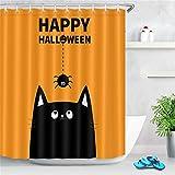 ZLWSSA Tenda da Doccia Impermeabile 3D Viso di Gatto Nero Carino Insetto di Ragno Arancione Divertente Tessuto da Bagno di Halloween 150x180cm