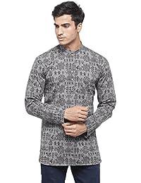 RG DESIGNERS Mens Grey Self Design Full Sleeve Kurta_D6578GrayWarli