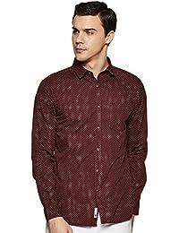 Amazon Brand - Symbol Men's Printed Regular Fit Casual Shirt