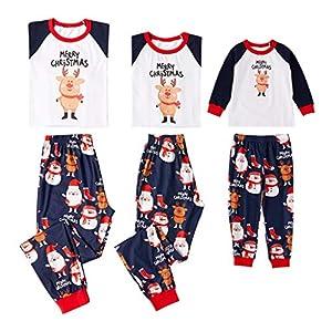 SCU-SS Pijamas Navidad A Juego con La Familia Conjuntos Ropa Dormir Tops Y Pantalones Largos Lounge Wear (Color : Kid(100)) 13