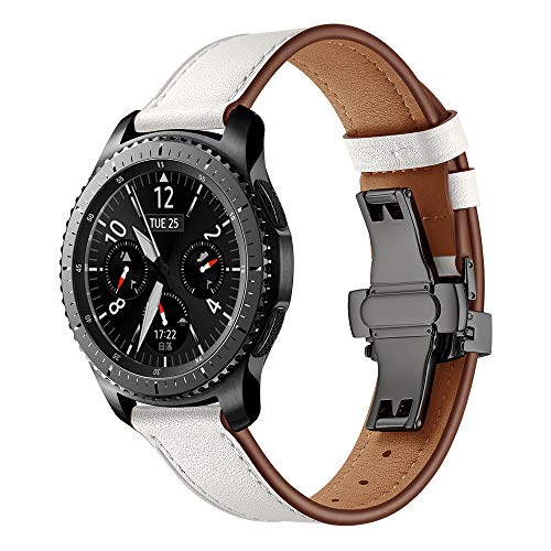 12shage Kompatibel mit Armband für Gear S3 Frontier Leder,Armband Uhr 22mm Leder Herren Armbänder