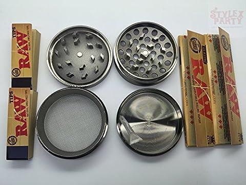 tobacco-herb Grinder 4pièces en métal avec rizlas brut et
