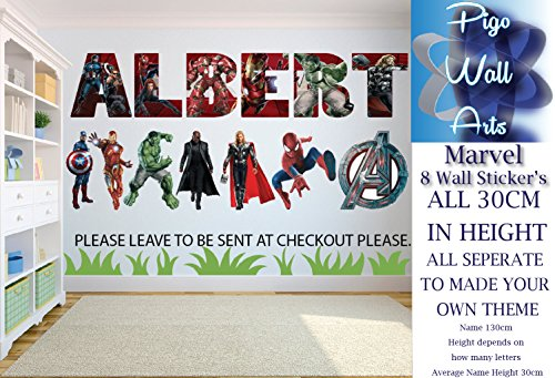 Price comparison product image Marvel Wall Sticker Thor, Hulk, Nick Fury, Captain America Spiderman Avengers Logo.