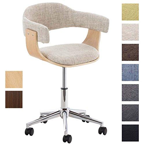 CLP Design-Bürostuhl BRÜGGE mit hochwertiger Polsterung und Stoffbezug | Höhenverstellbarer Schreibtischstuhl mit Einer gepolsterten Sitzschale Creme, Holzfarbe: Natura