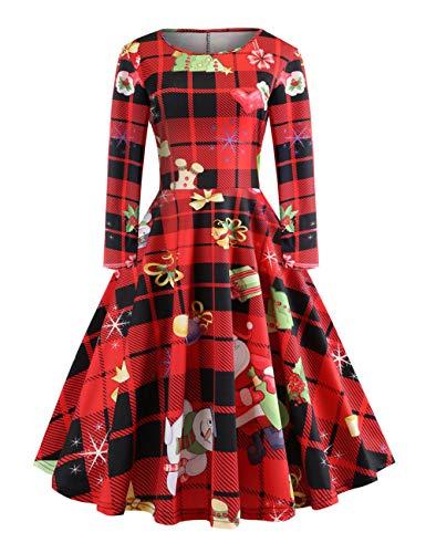 FeelinGirl Weihnachten Party Elegant Abendkleid- Retro Rockabilly Minikleid Kleidung Mini Mesh...