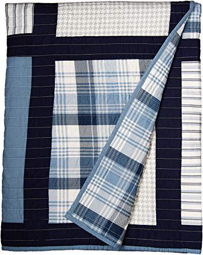 Huntington Übergroße Baumwolle gesteppte Tagesdecke, baumwolle, blau, 50x70\