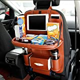 Cpixen Car Back Seat Organizer with Larger Protection & Storage, Waterproof Leather Kick Mats with iPad Mini Holder, Large Bottle Pockets Car Seat Storage, Durable Back Seat Organizer