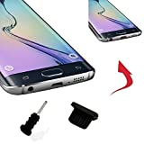 4 X Profi Staubschutz Stöpsel für - Samsung Galaxy A3 (2017) - Micro-USB Anschluss / Kopfhörereingang - 4 x Schwarz