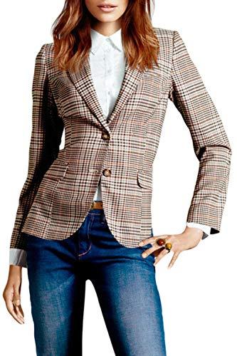 Suvotimo Frauen Klassische Blazer Button - Down - Ellenbogen Patch Karierten Büro Jacke Brown XS