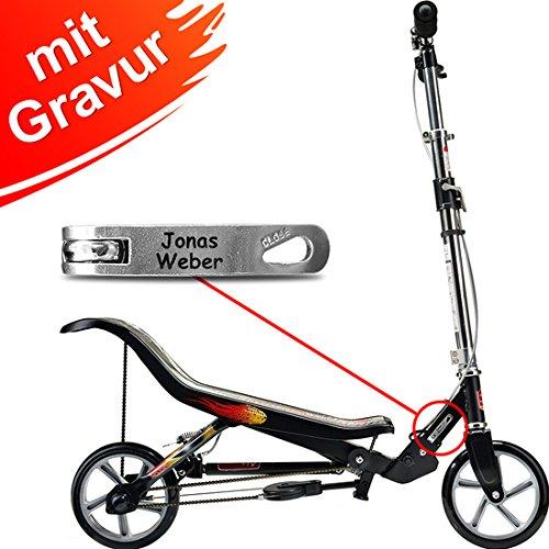 Preisvergleich Produktbild Space Scooter X 580 matt-schwarz MIT GRAVUR - inkl. hochwertiger Namensgravur - SpaceScooter Wipproller X580 black