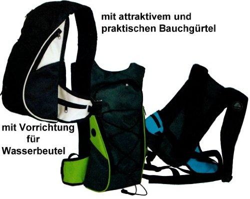 amaro 8100 Fahrradrucksack mit Bauchgürtel und Vorrichtung für Wasserbeutel in 3 Farben schwarz-hellgrau