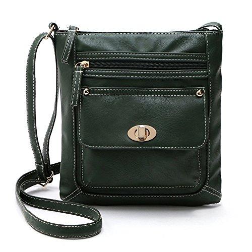 Longra Leather Satchel delle donne Crossbody spalla Messenger Bag verde