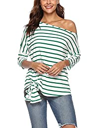 Twippo - Camicia a Righe Donna - T Shirt Manica 3 4 - Top Donna ca11e3cd063