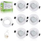 Liqoo® Pack 6 Bombillas GU10 LED Focos Luz de Techo Blanco Cálido 6W = 40W Halógena AC 220V Con Marco Redondo Bajo Consumo 2700K