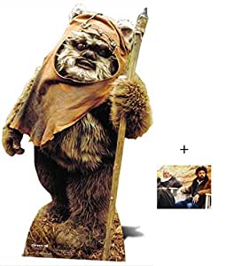 Fan Pack - Wicket The Ewok Star Wars Lifesize Grand Silhouette En Carton Standee / Stand-Up - Avec Star Photo (Dimensions 25x20 Cm)