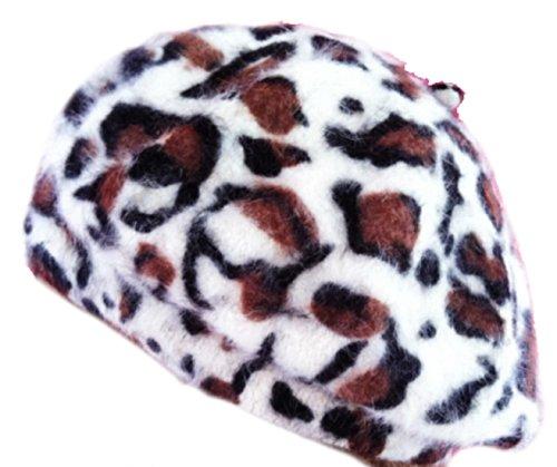 LadyMYP©Baskenmütze, Animal Print, Leopard, langhaariger Angora-Wolle, Mütze, Barett in verschiedenen Farben (Animal_weiß) -