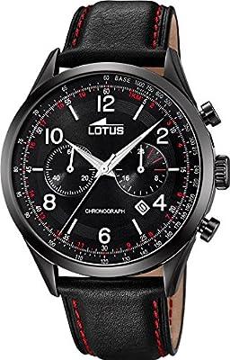Reloj Lotus cronografo 18559/1 caja negra correa negra con detalles rojos de Lotus
