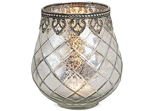 matches21 Windlicht Teelichtglas Kerzenglas Orientalisch Silber antik Glas/Metall Vintage - 3 Größen zur Auswahl - 14 cm