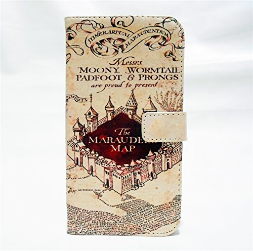 Hogwarts Marauder 's Map Muster Slim Brieftasche Karte Flip Ständer Leder Tasche Schutzhülle für Samsung Galaxy S III/S3GT-i9300