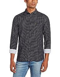 Peter England Mens Casual Shirt (8907411874942_JSF31601889_38_BlackWithWhite)