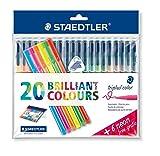 Staedtler 323SSB20P1 Fasermaler triplus Vorteilspack, farbig 20 Stück und neon 6 Stück