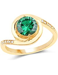 Johareez Gold Plated Contemporary Green Solitaire Cubic Zirconia Ring For Women