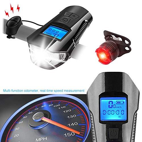 Daskoo Super Brillante Faro Impermeable para LED Bicicleta con Velocímetro Multifunción y Bocina, Luz Delantera de Bici Recargable por USB con Faro Integrado, Cuentakilómetros de Ciclo Multifunción