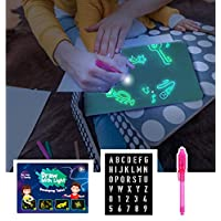 ALANGDUO Draw with Light Toy, Light Up Drawing Writing Board, Fun and Developing Toy Doodle Board, Magic Doodle Drawing Board for Painting Babies Children, Portable Hi-Tech Drawing Board for Kids